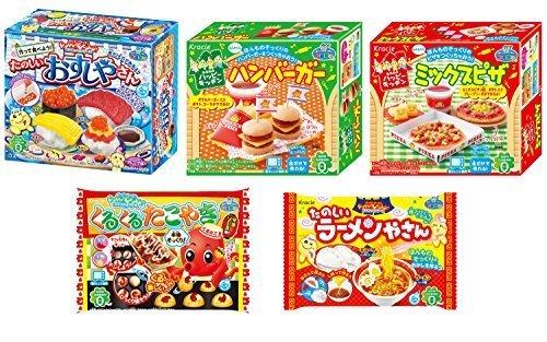 Kracie Popin Cookin 5 Item Bundle with Sushi, Hamburger, Piza, Takoyaki, Ramen