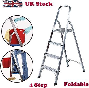 Escalera de 4 peldaños de aluminio antideslizante, plegable, para el hogar, cocina, interior, carga máxima de 150 kg, fácil de mover: Amazon.es: Bricolaje y herramientas