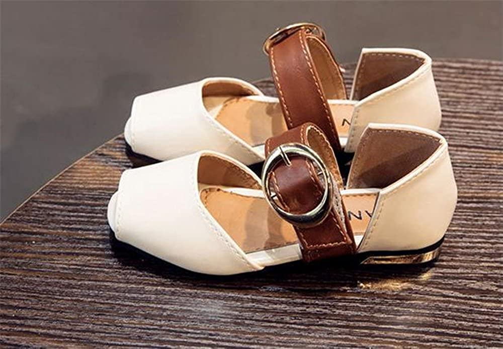 coollight Toddler Girls Flower Open Toe Strap Sandals Summer Flat Princess Shoes