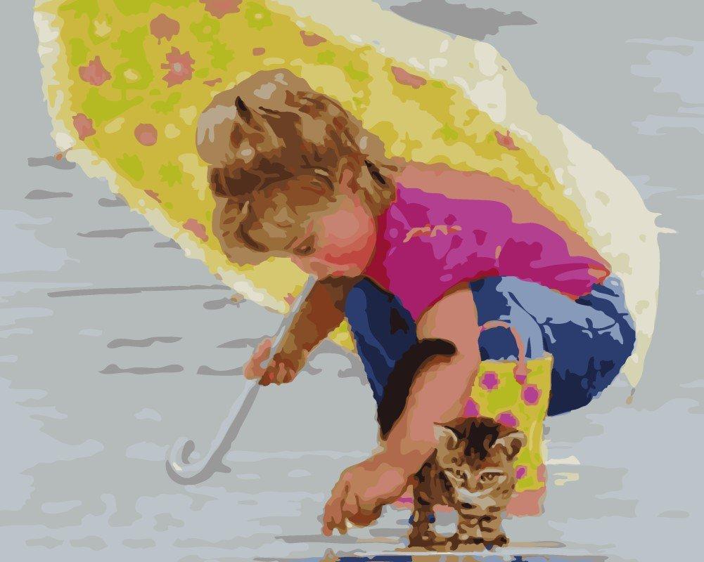 Wowdecor DIY Malen nach Zahlen Kits Geschenk für Erwachsene Kinder, Malen nach Zahlen Home Haus Dekor - Niedlich Mädchen & Katze 40 x 50 cm ohne Rahmen