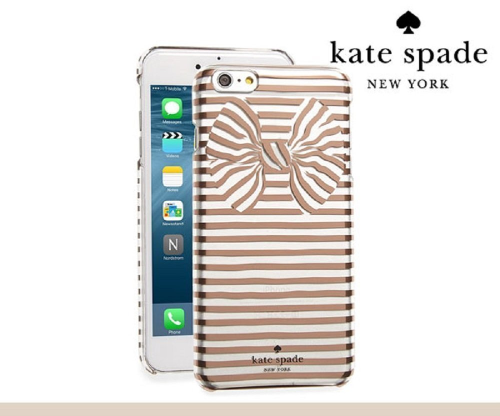 brand new 291b7 bca03 kate spade new york Protective Hardshell iPhone 7 Plus Case, also  compatible with iPhone 6 Plus, 6s Plus - Painterly Bow ROSE Gold / Clear