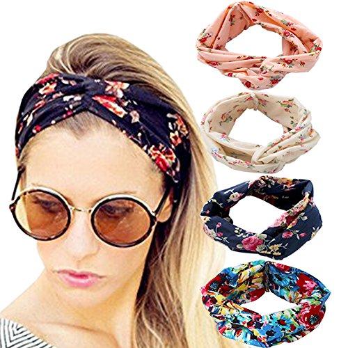 DRESHOW 4 Pack 1950 s Vintage Flower Headbands for Women Twist ... 753d5ac021c