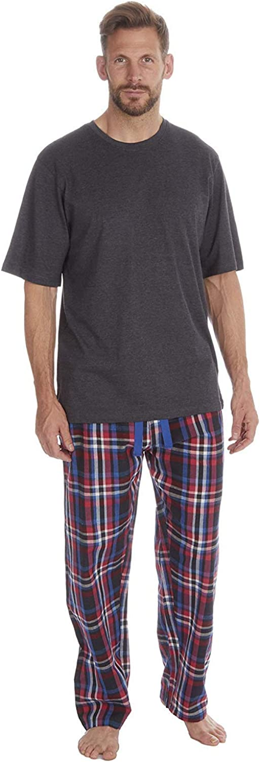 Mens Pyjamas Set Short Sleeve Top /& Woven Long Bottoms Pants