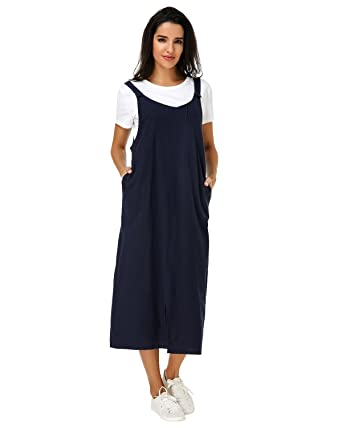 964785de29f Kidsform Womens Pinafore Dress Sleeveless Casual Loose Solid Split Hem Overalls  Pocket Long Maxi Dresses  Amazon.co.uk  Clothing