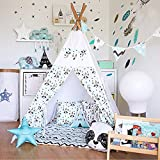 Fessyc@New small panda design indian teepee children's indoor princess dollhouse games tent house Indian wooden canvas tent