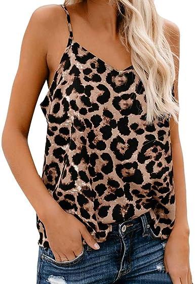 Camiseta de tirantes para mujer con estampado de leopardo ...