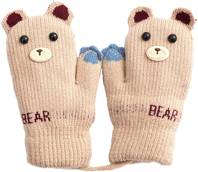 Christmas Toddler Kid Baby Girl Boy Winter Warm Gloves Thick Fur Knitted Mittens