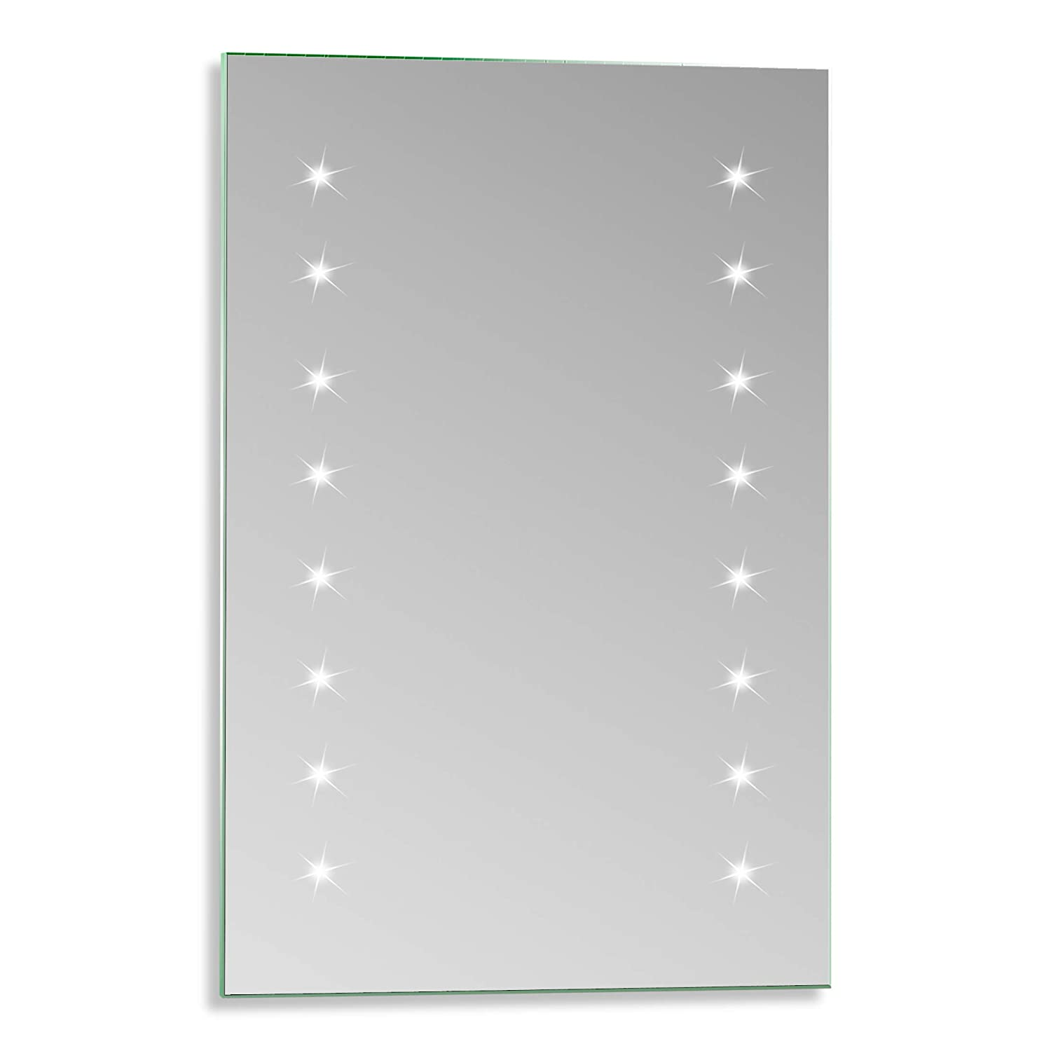 Neue Design LED Battery Bathroom Mirror Illuminated Fully Certified to British Standards 60cm x 40cm Aluminium Frame With Lights