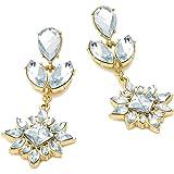 Diamante Crystal Gold Effect Drop Earrings