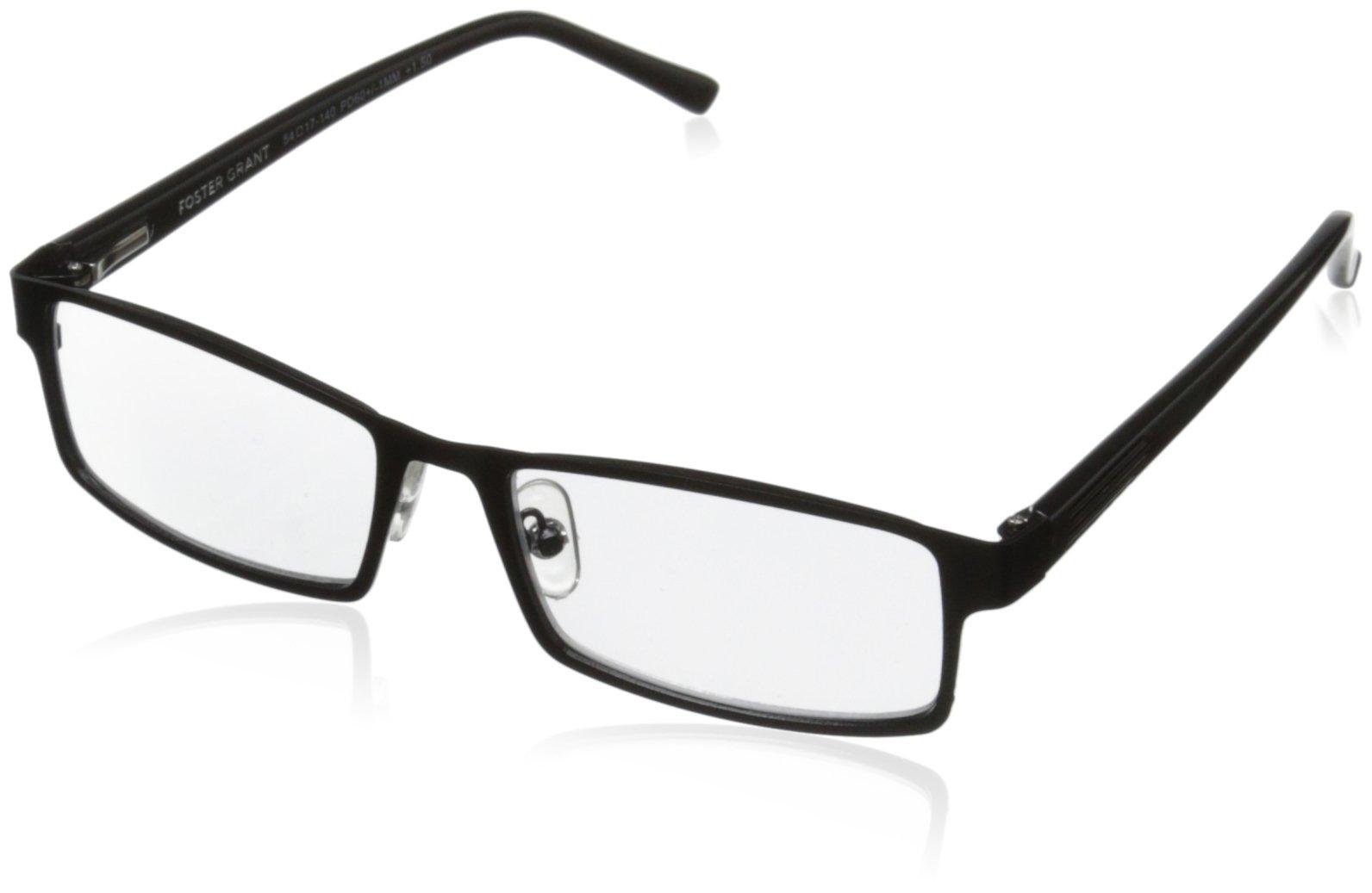 Foster Grant Sawyer Men's Multifocus Glasses, Black, 1.5