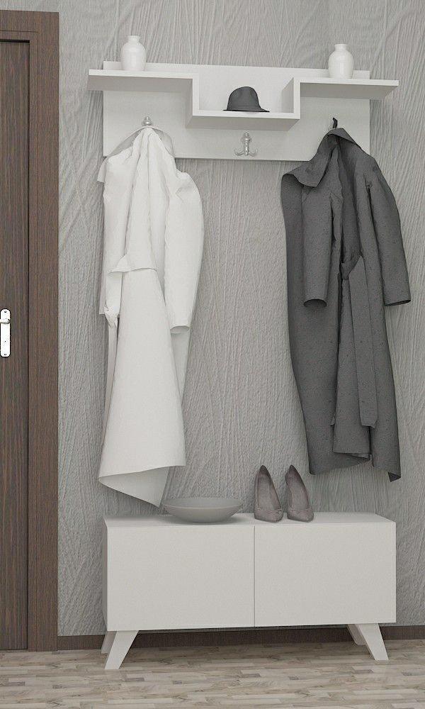 LaModaHome - Perchero Vintage de Color Blanco y Armario de ...