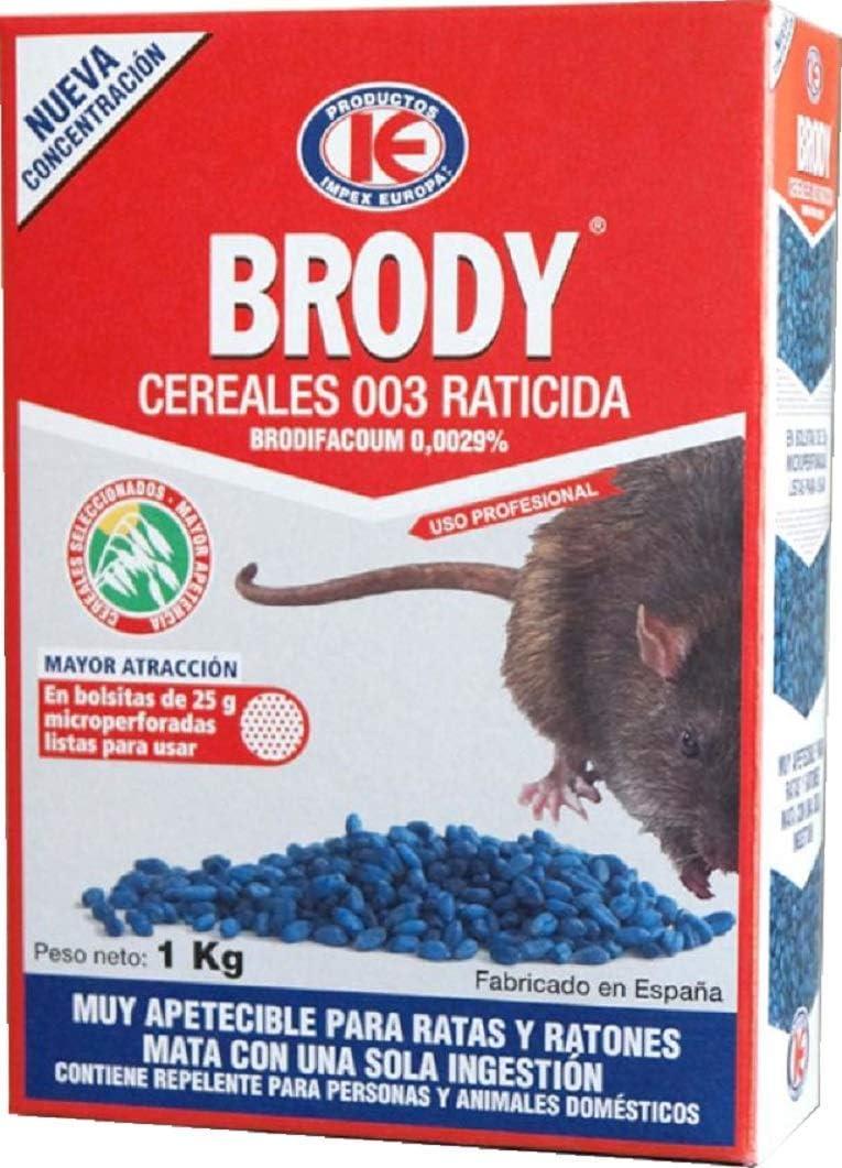 IMPEX EUROPA Brody Cereales 003 - Raticida en Grano para Control de plagas de Ratas y Ratones - Caja 1 kg