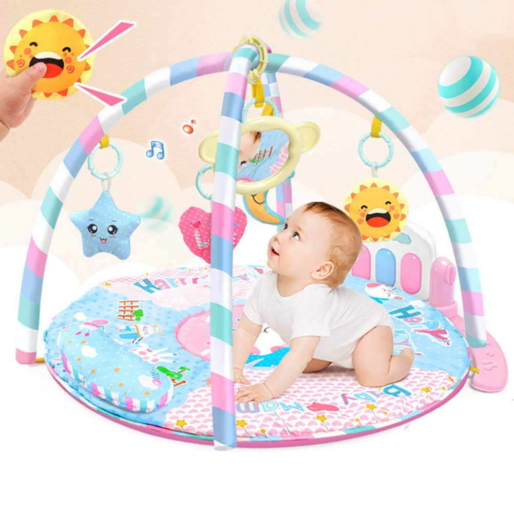 LamicAR Baby Cartoon Cradle Education Toy Fitness Frame Piano Music Blanket Crawling Mat Light Pink by LamicAR (Image #5)