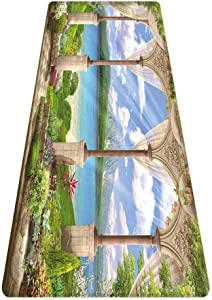 SoSung Italian Decor Rug Runner,Old Ancient Stone Arch View The Sea Balcony Fresco Garden Plants Spiritual,for Living Room Bedroom Dining Room,6'x 2',Multicolor