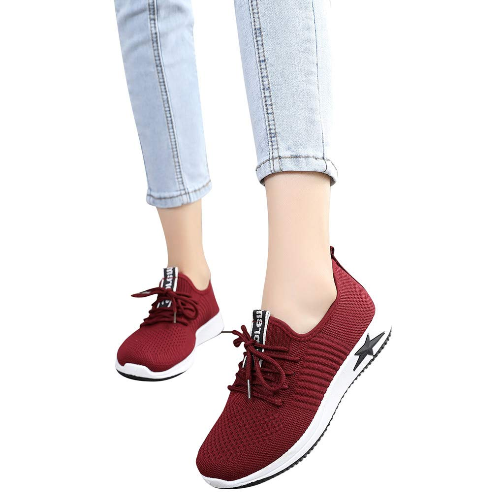Hot 2019 New Women's Fashion Mesh Sneaker Running Breathable Sport Shoes Outdoor Casual Lace Up Shoes (Red, 7)