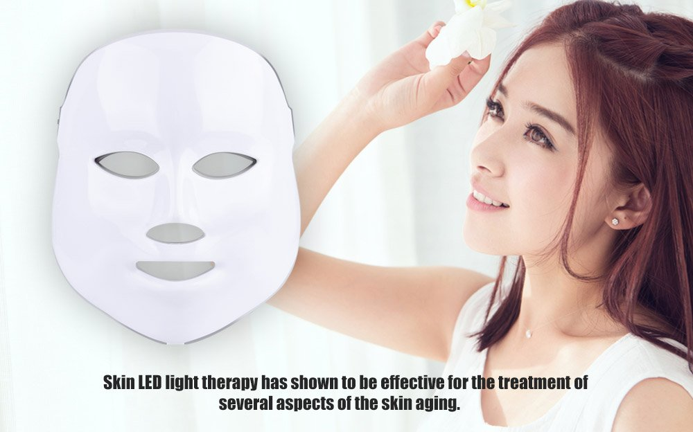 Phototherapy Trichromatic Color LED Mask Instrument Cold Light LED electronic Mask Instrument Professional Beauty Rejuvenation Instrument Therapy Facial Skin Care Mask Device by Simpled (Image #2)