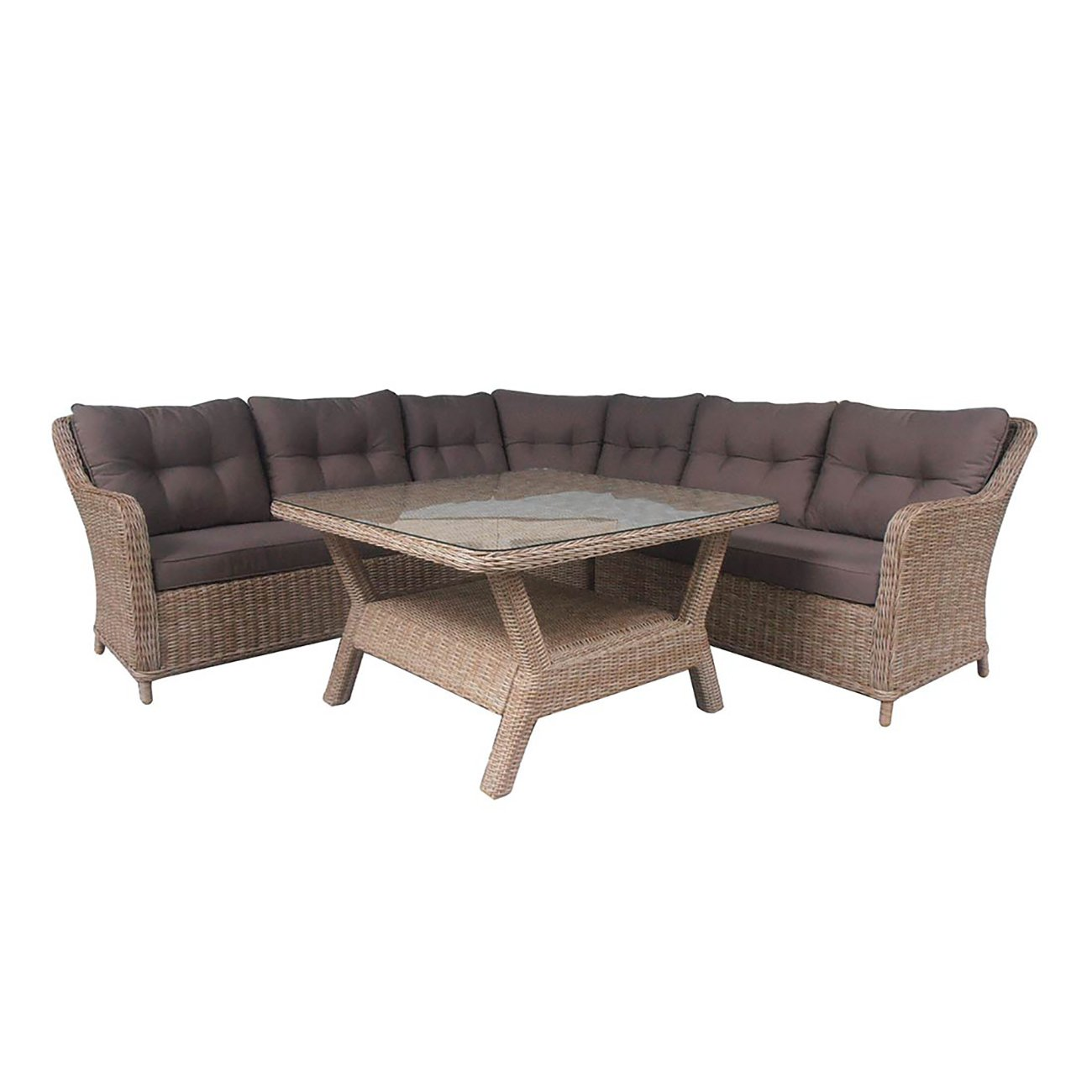 OUTLIV. Laguna Lounge 4tlg Geflecht Mixed Brown / Kissen ...