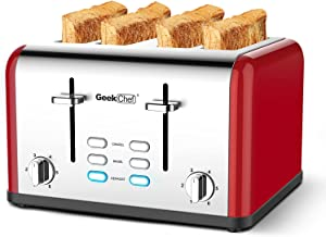 Toaster 4 Slice, Geek Chef Stainless Steel Extra-Wide Slot Toaster with Dual Control Panels of Bagel/Defrost/Cancel Function, 6 Toasting Bread Shade Settings, Removable Crumb Trays, Auto Pop-Up (Red)