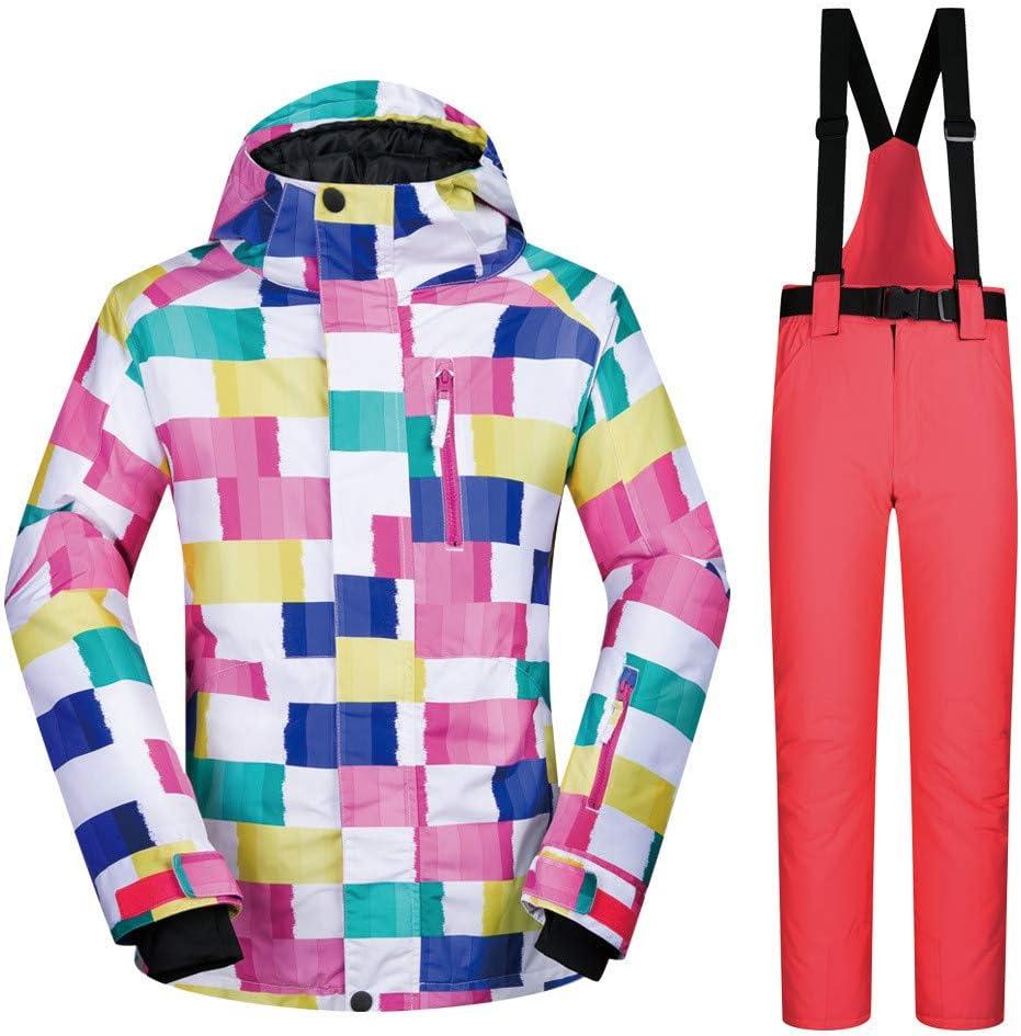 スキーウェア スキースーツレディーススーツアウトドアウォーム防水シングルペアスキーパンツスーツ 耐性ジャケット (色 : Watermelon 赤 pants, サイズ : S) Watermelon 赤 pants Small
