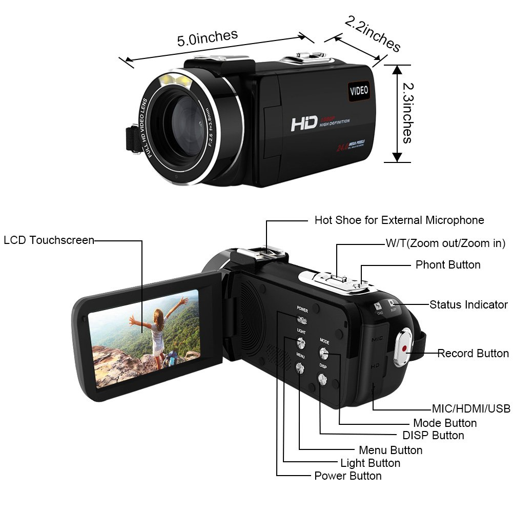 Camcorder Full HD 1080p 30fps Video Camera Support Shotgun Microphone Wifi Camera 3