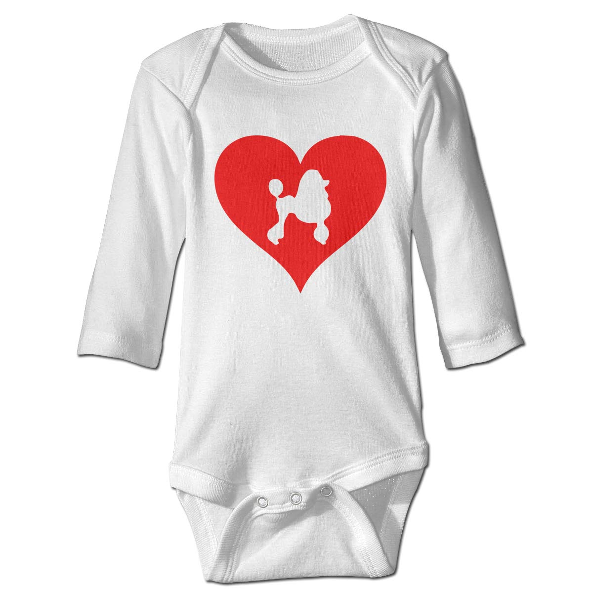 Newborn Baby Boys Girls Long Sleeve Jumpsuit Romper Love Heart Poodle Print Jumpsuit