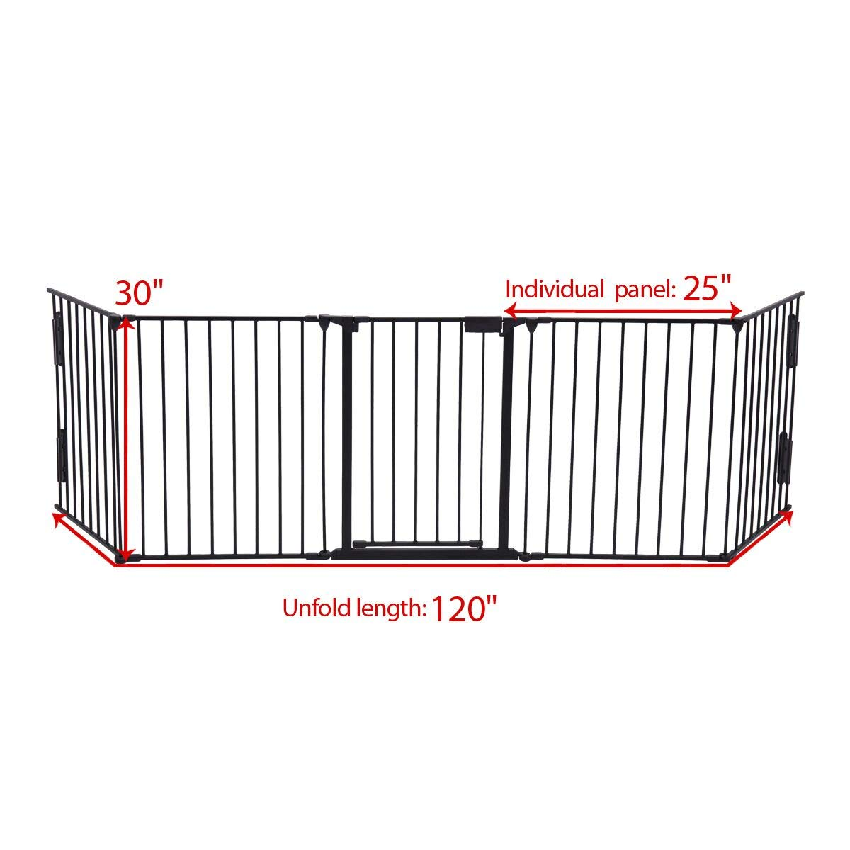 JAXPETY 25''x 30'' 5 Panel Baby Safety Fence Hearth Gate BBQ Fire Gate Fireplace Metal Plastic Pet Dog Cat by JAXPETY (Image #2)