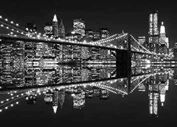 Wall Mural Photo Wallpaper NEW YORK BROOKLYN BRIDGE Black U0026 White 254x183cm  Wall Decor Part 38
