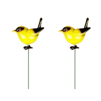 Wonderland (Set Of 2) Bird Garden Stake/Garden Stick In Yellow Blue With