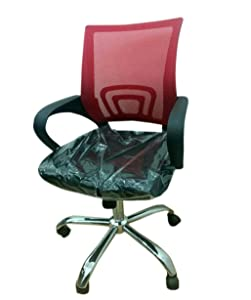Elecktra Mesh Low Back Office Chair/Rotating Chair for Staff Executive/Ergonomic Revolving Adjustable Tilt Chair/Chair for Computer & Office Desk - Red