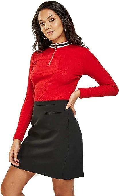 Easy Wear - Camiseta de manga larga para mujer (algodón, cuello alto, manga larga), color rojo: Amazon.es: Ropa y accesorios
