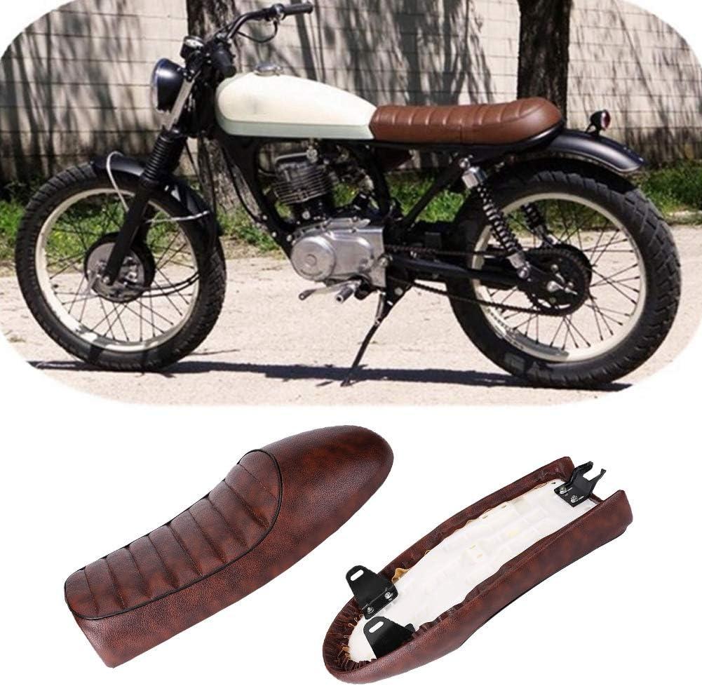 Rockyin Motorrad PU-Leder Vintage Cafe Racer Sitz Wohnung Sattel for Honda CG125 GN CG CB400SS Schwarz