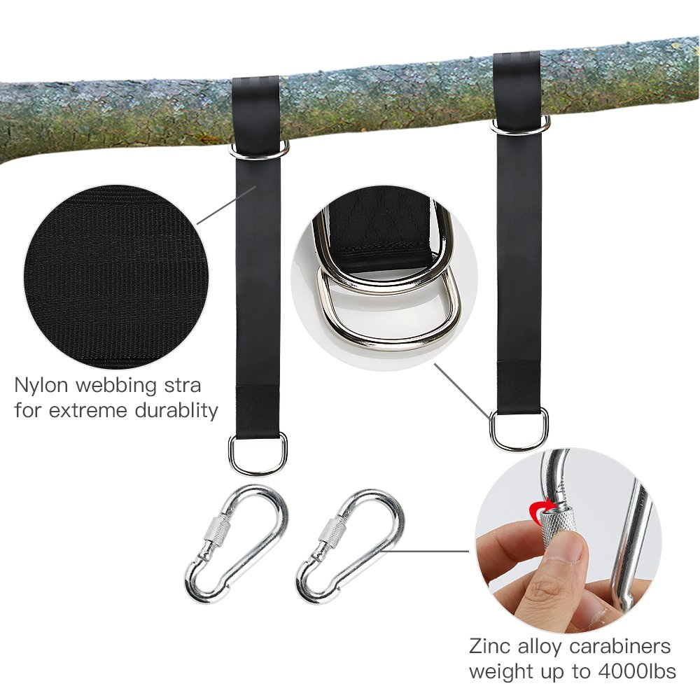 Tree Swing Hanging Kit Strap Outdoor Hanger Hammock Belt 5ft Nylon Webbing Strap With 2 Safe Zinc Alloy Carabiners Which Hold 4000 lbs Quick Installation & Release Adjustable 2 Pack+ 1 Carrying Bag by DoNuuLi (Image #5)