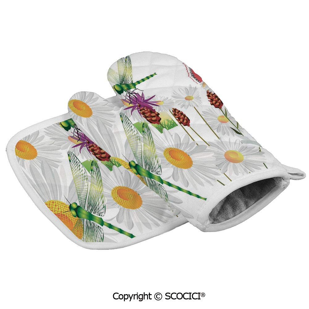 SCOCICI Oven Mitts Glove - Daisy Flower Field with Chamomile and Butterflies Grassland Elegance Design Heat Resistant, Handle Hot Oven Cooking Items Safely