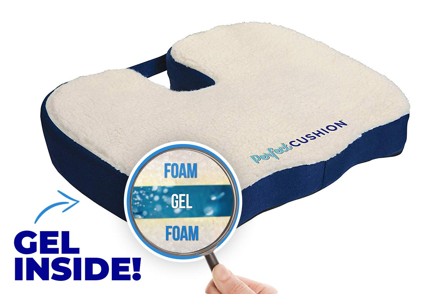 Perfect Cushion, Memory Foam & Gel Seat; Quality & Therapeutic Comfort Designed to Cradle & Support Your Body; Built in Carry Handle & Anti-Slip Bottom. Helps to relieve Back, Hip & Tailbone Pain by Allstar Innovations