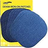 ZEFFFKA Premium Quality Denim Iron on Jean Patches No-Sew Shades of Blue 9 Pieces Assorted Cotton Jeans Repair Kit 4-1/4' by 3-3/4'