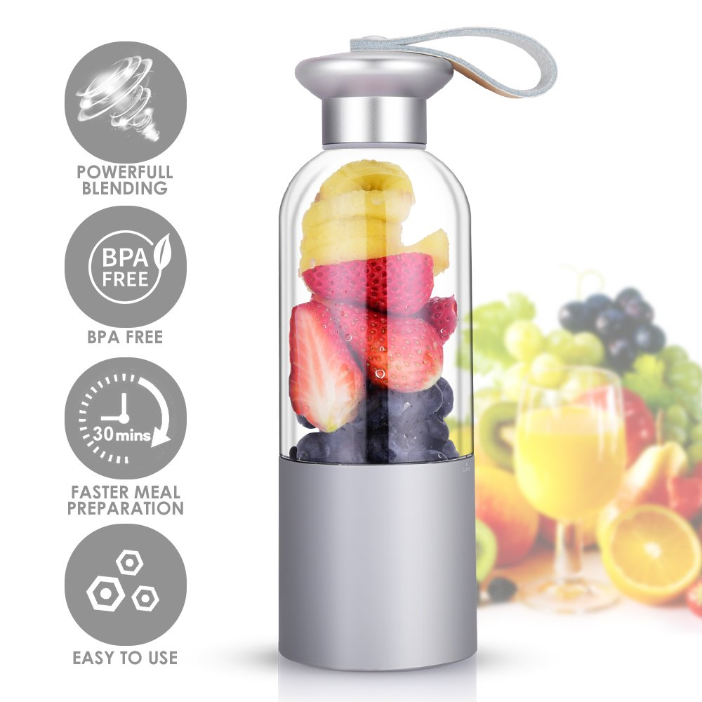 Portable Blender - Personal Blender with Powerful Motor, Travel Blender for Fruit Smoothies/Healthy Drinks/Baby Food/Shakes, Sealable Lid, Easy to Use & Clean - USB Rechargeable by ROCK SPACE (Image #1)
