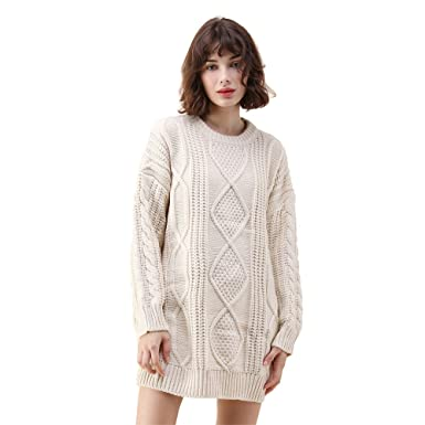dd025ea244 Chicwish Women s Comfy Casual Warm Long Sleeve Army Green Ivory Cable Knit  Longline Sweater Dress Pullover