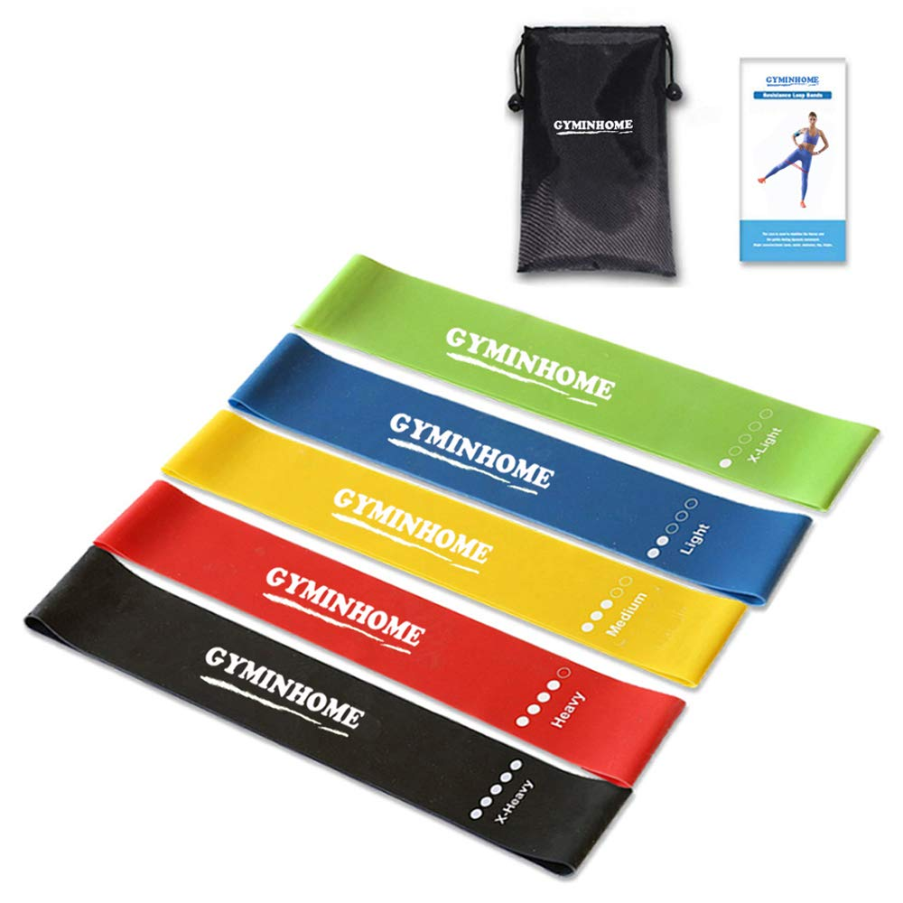 GYMINHOME Exercise Bands Resistance - Light Medium Heavy Workout Bands - Stretch Bands for Arms Legs Butt - Loop Bands for Physical Therapy - Includes Instruction Guide, Carry Bag, Set of 5