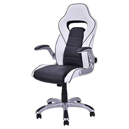 Giantex Racing Style Gaming Chair with Adjustable Armrest Executive PU Leather High Back Office Chair Computer Desk Task Chair Black White