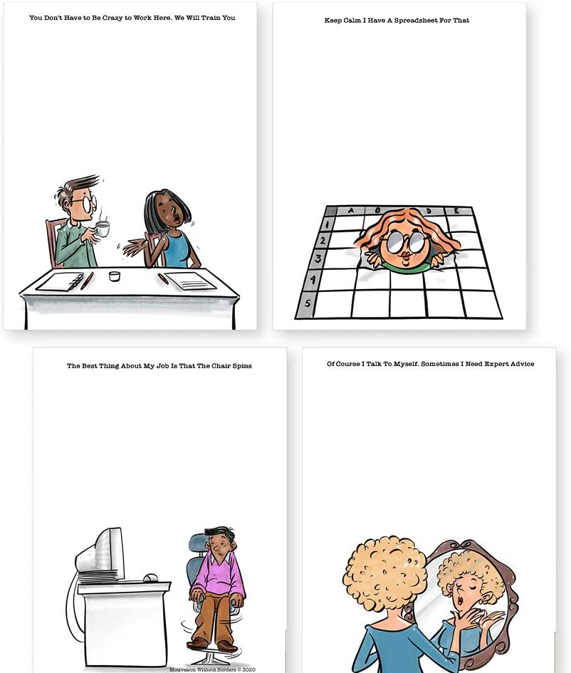 4 Notepads with Funny Office Humor   Perfect novelty gift coworker, friend, family   4.25