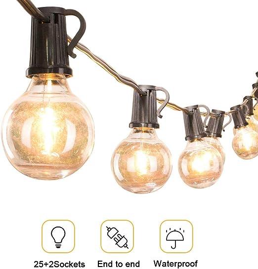 Guirnalda de luces de patio G40 de 25 pies, 25 bombillas de globo ...
