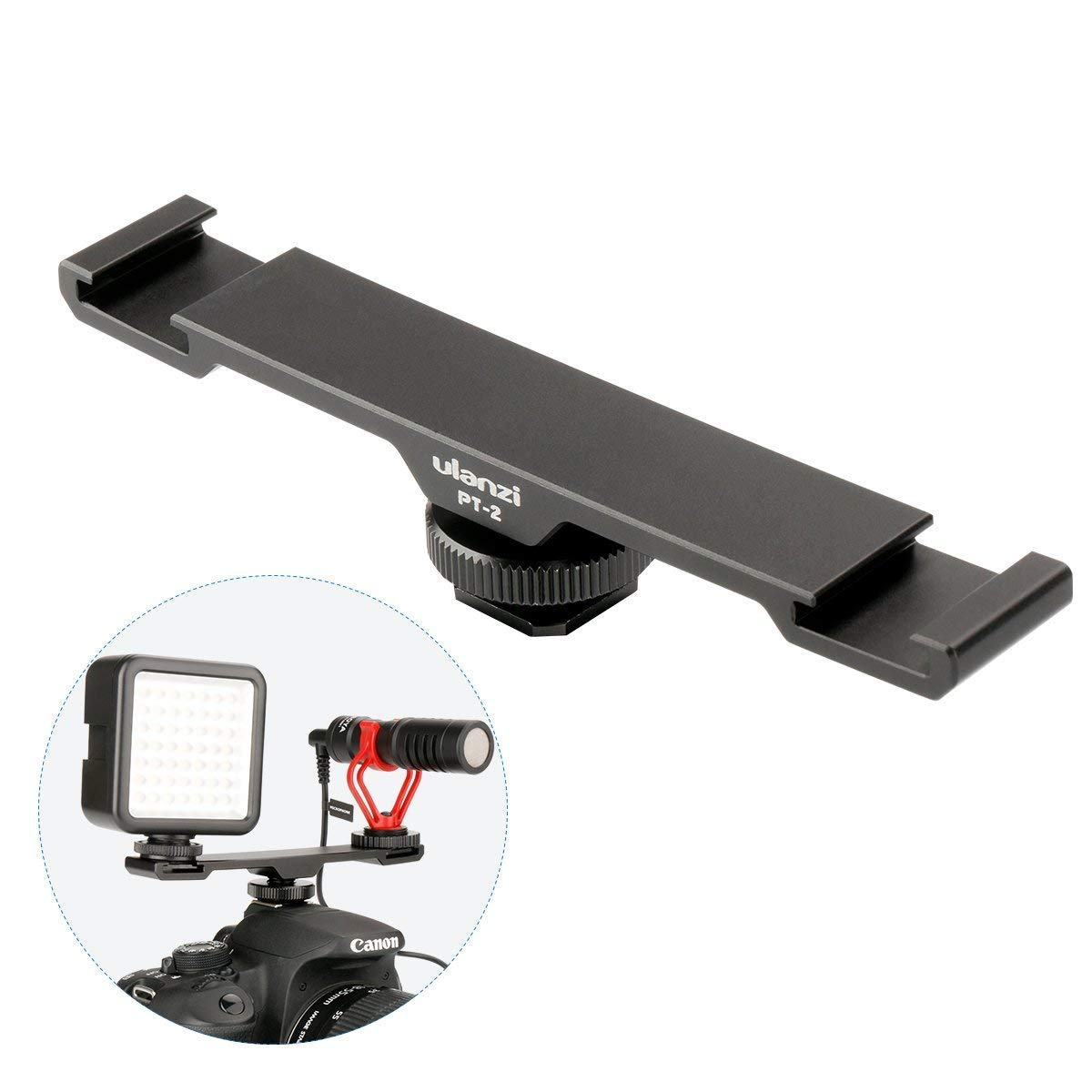Ulanzi PT-2 Aluminum Alloy Universal Cold Shoe Extension Bracket 2 Hot Shoe Mounts Extension Bar Dual Bracket with 1/4'' Thread Holes for iPhone Nikon Canon DSLR Camera Flash LED Video Light Microphone by ULANZI