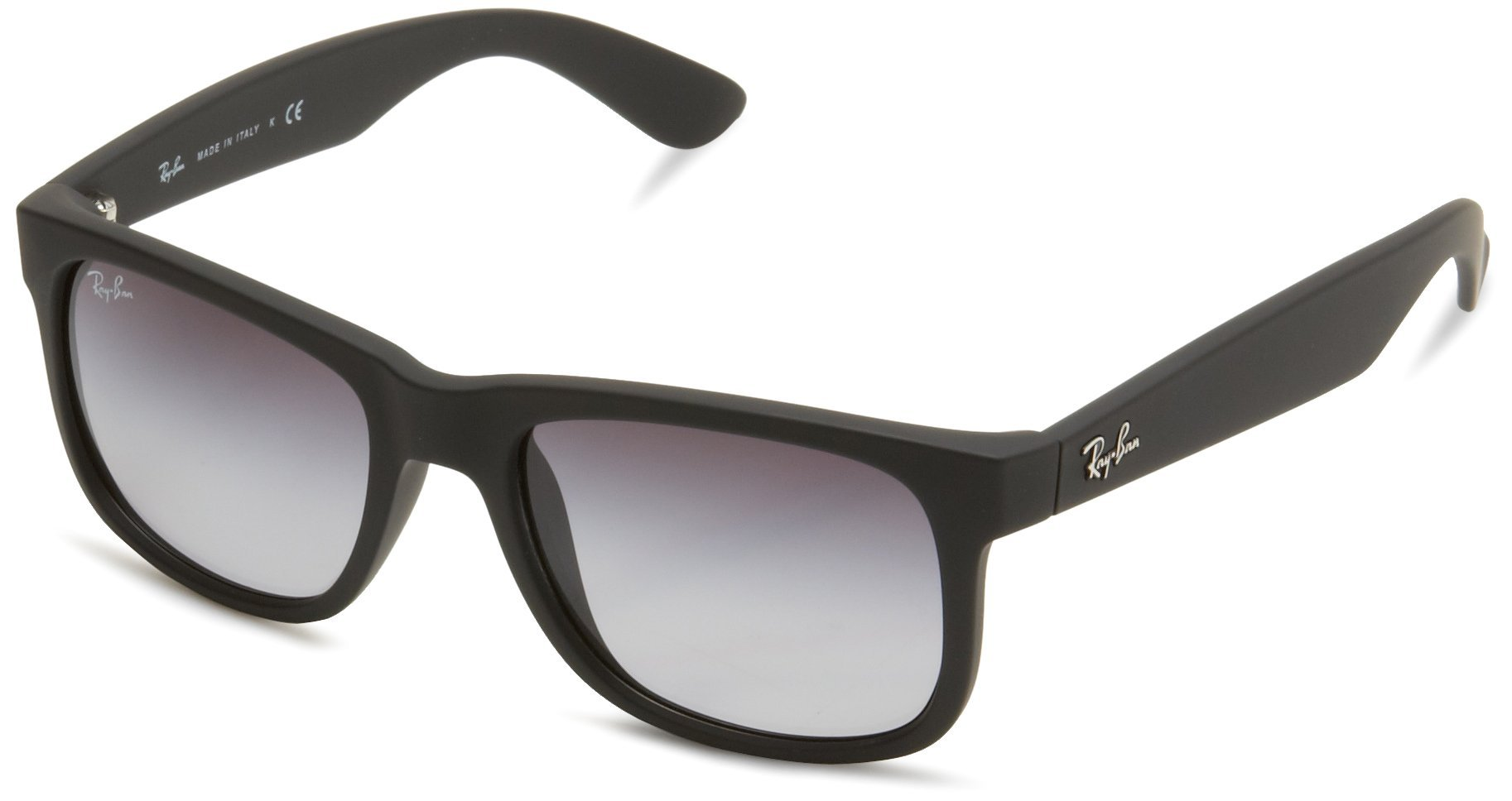RAY-BAN RB4165 Justin Rectangular Sunglasses, Black Rubber/Grey Gradient, 51 mm by RAY-BAN