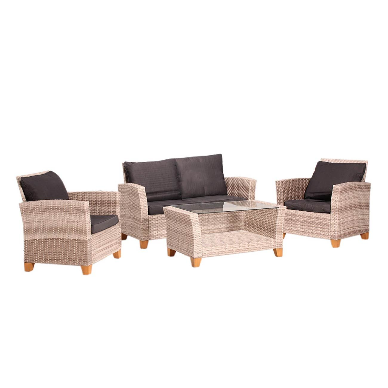 loungem bel outdoor outliv adelaide 4 tlg gartenlounge set polyrattan akazie beige braun. Black Bedroom Furniture Sets. Home Design Ideas