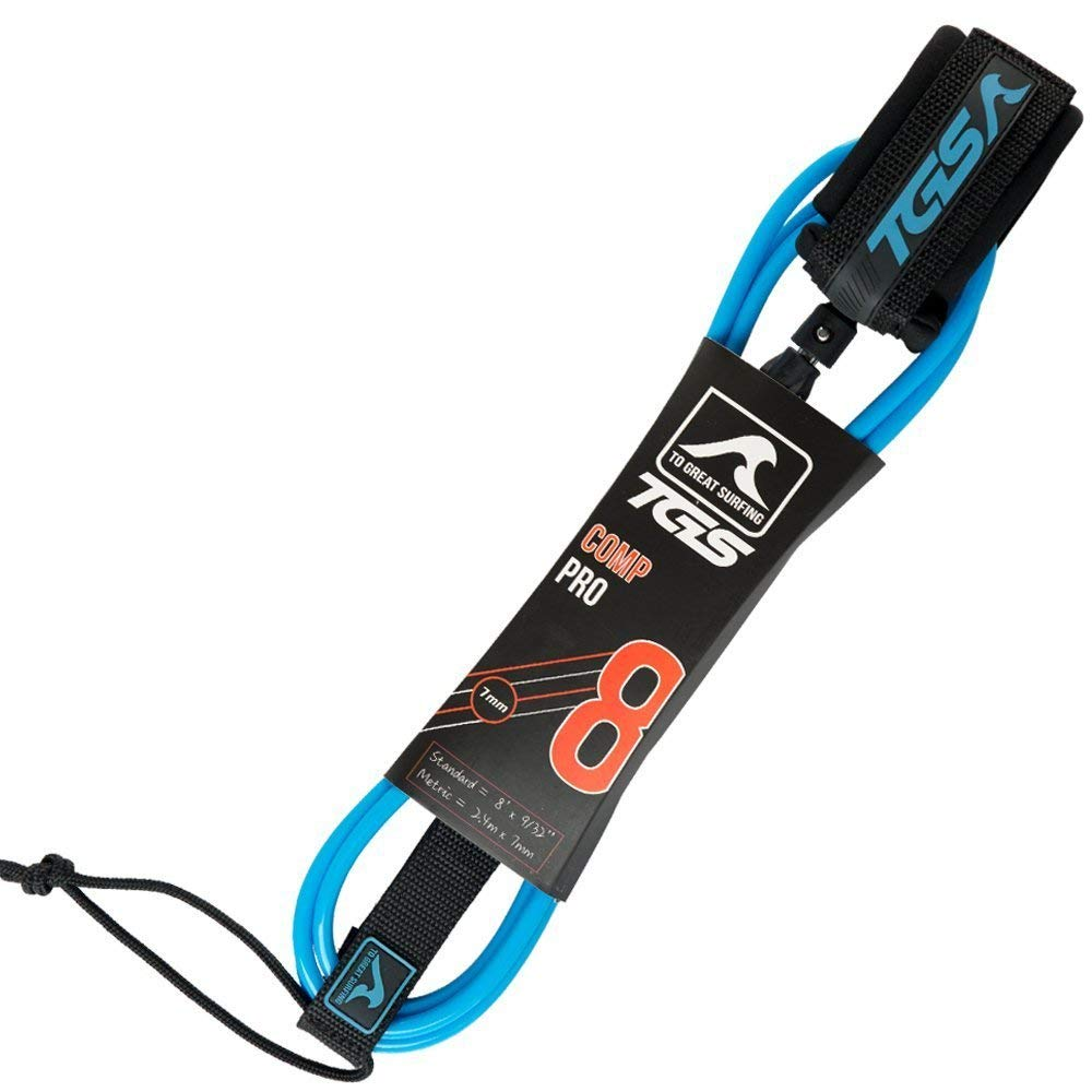 TGS Superior Surf Leash 8 ft Leash with Double Stainless Steel Swivels and Triple Rail Saver bluee