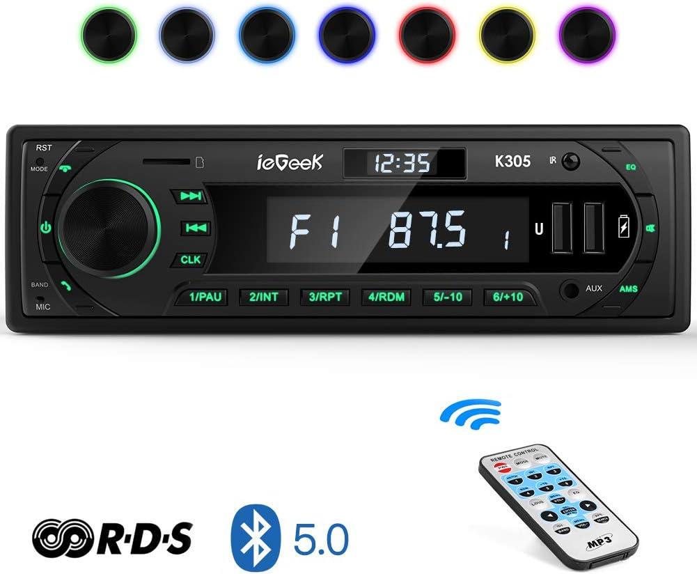 Autoradio Bluetooth Coche RDS Estéreo ieGeek, Luz de Botón 7 Colores, 60W X 4 Soporta FM/AM/AUX/MP3/WMA/WAV/USB/SD/Control Remoto, Reloj de visualización, Guardar 30 Emisoras de Radio, 1DIN