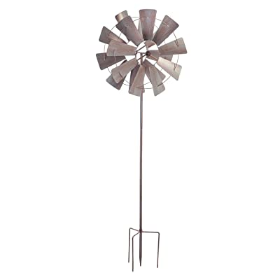 Evergreen Garden Galvanized Windmill Wind Spinner - 24 x 10 x 72 Inches : Garden & Outdoor