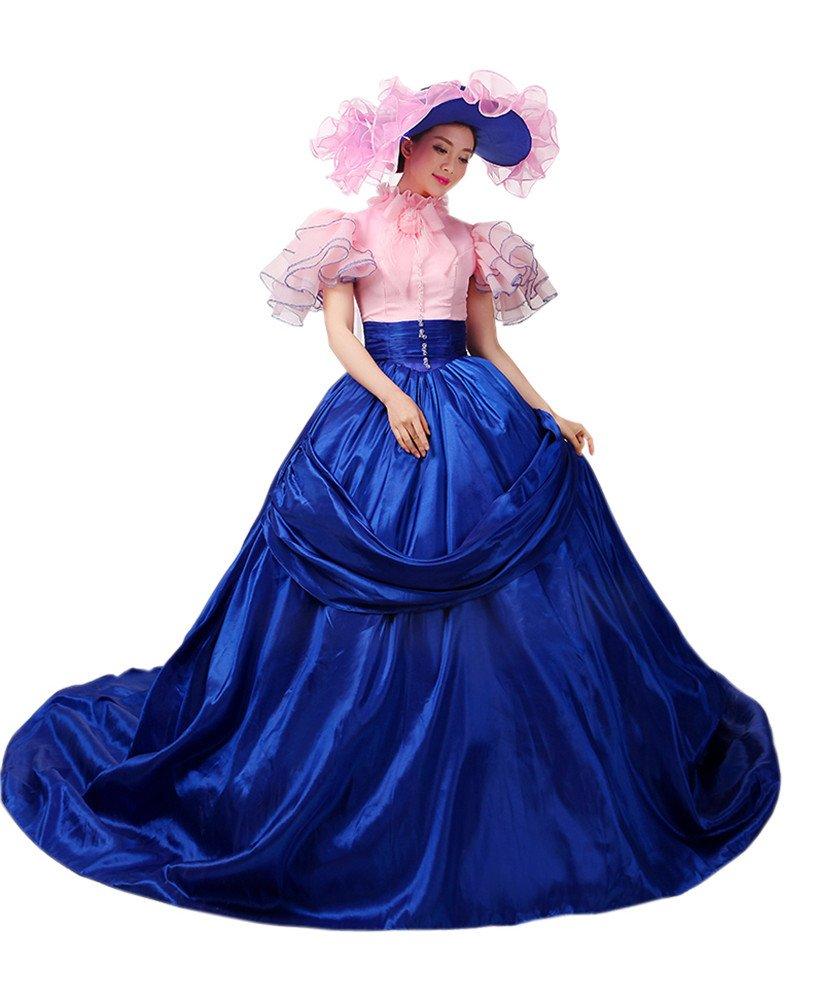 Womens Medieval Renaissance Dress Victorian Lolita Fancy Dresses Cosplay Costume (M, pink&blue)