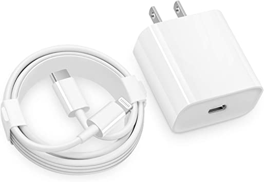 USB C Fast Charger -MFi Certified - 20W PD Fast Charger with 6FT C to Type C Charger Adapter for iPhone 12/12 Mini/12 Pro/12 Pro Max/11 Pro Max/XS Max/XS/XR/X,iPad Pro