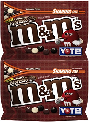 M&Ms Chocolate Candy (2 Pack) Flavor Vote Crunchy Espresso Sharing Size, 8 Ounce Bags